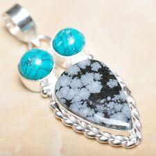 "Handmade Natural Obsidian Snowflake 925 Sterling Silver Pendant 2"" #P09018"