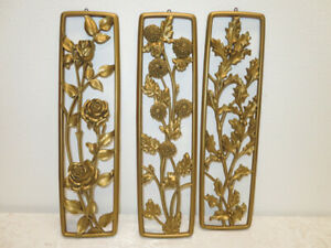Mid Century Modern TRIO Plastic 1954 Dart Ind. Wall Art Floral Plaques Panels