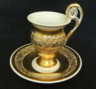 VINTAGE 1914 WW 1 KPM IRON CROSS GERMAN COFFEE CUP AND SAUCER WHITE AND GOLD