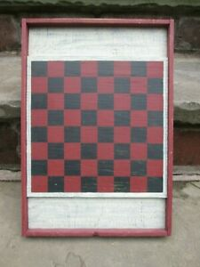 REENACTOR 18TH C REPRO CHECKER BOARD COLONIAL REV WAR PAINTED RED BLACK GAME OLD
