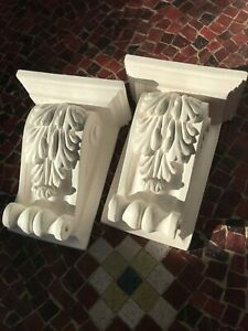 Two Large detailed acanthus scroll plaster corbels. Ornamental decorative.