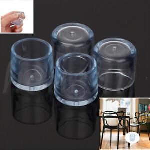 4Pcs Rubber Furniture Table Chair Leg Floor Feet Cap Cover Protector Transparent