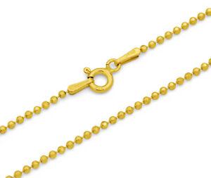Kugelkette 925 Sterling Silber vergoldet diamantiert 1,2mm 40 - 50 cm Kette Gold