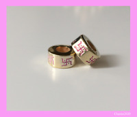 Fits Pandora Charm Gold engraved with little pink Swastikas
