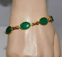 """Vintage Scarab Style Link Jade Green Glass Cab Gold tone 7.5"""" Bracelet 1g 12"""