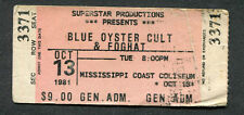1981 Blue Oyster Cult Foghat full concert ticket Biloxi Fire Of Unknown Origin