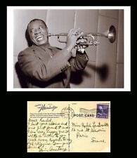 LOUIS ARMSTRONG 1950 SCARCE AUTOGRAPHED POSTCARD SIGNED (FULLY HANDWRITTEN)