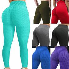 Mujeres Cintura Alta Yoga Leggings Pantalones deportivos Push Up Acanalada Gimnasio Fitness Ropa deportiva Pantalones