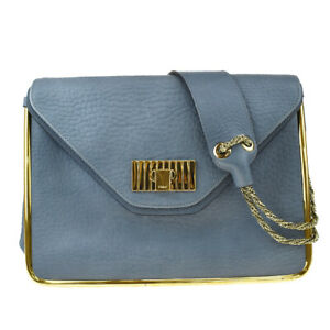 Authentic CHLOE Sally Chain Shoulder Bag Leather Blue Gold-Tone Italy 86MD679