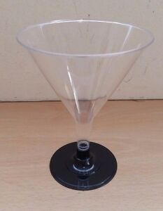 Plastic Cocktail Martini Glasses Black Base Glass Toasting Party Wedding Event