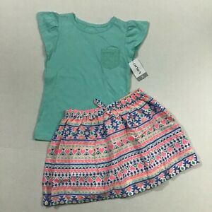 Carters NWT Girl Size 5 3 Piece Outfit Set Biker Shorts Skirt Lace Pocket Top