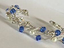 "LOVELY 6"" SMALL SILVER BRACELET WITH MID BLUE SWAROVSKI ELEMENTS"