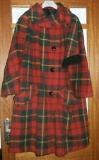 "WOMEN'S VINTAGE RED WOOL TARTAN COAT SCARF 12 / 14 UK APPROX. 44"" CHEST 37"" L"