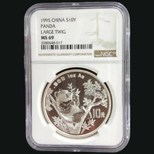 1995 panda Large Twig 1oz silver coin S10Y NGC MS69