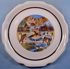 Scenic South Dakota State Decorative Souvenir Plate Octagonal 8 Sided Gold (O2)