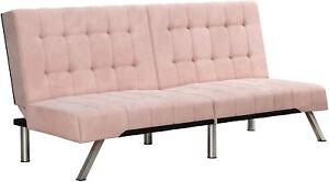 Luxurious Convertible Emily Futon Tufted Sofa With Chrome Legs Faux Leather