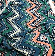Chiffon Fabric - Teal Turquoise & Salmon Chevron 1/3 yard remnant