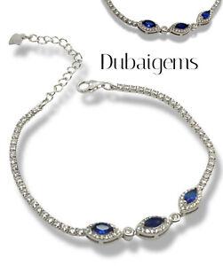 White gold finish blue sapphire and created diamond Marquises Cut bracelet