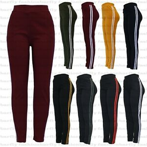 New Ladies Women Stretchy 2 Side Stripe Gym Yoga Fitness Leggings Pant Size 8-22