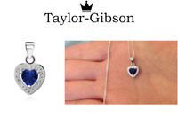 925 Sterling Silver Heart Necklace or Pendant Blue Cubic Zirconia Gift Present