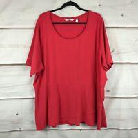 Isaac Mizrahi Live Elbow Sleeve Peplum Flounce Knit Top Basic Red Tee Womens 3X
