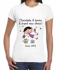 Chocolate Booze and Brand New Shoes 75th Birthday Women's T-Shirt