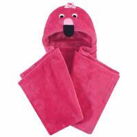 Hudson Baby Plush Blanket with Hood, Flamingo, One Size
