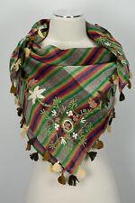 Pashmina Schal 100% Wolle wool scarf stole écharpe foulard Stickerei Quasten