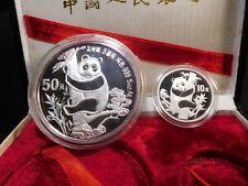 T162 China PRC 1987 Silver Panda 1 Oz. & 5 Oz. 2-Coin Proof Set w/ BOX