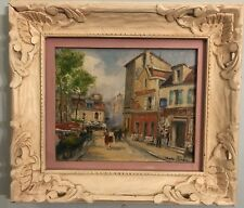 "Vintage Charles Blondin French Impressionist Oil Painting ""Paris Cafe in Spring"""