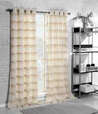 "Single Grommet Window Curtain Panel: Poly-Linen Blend  84"" Beige, Ivory Stripes"