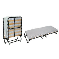 Portable Folding Single Bed w/ Mattress and wheels Guest Fold up