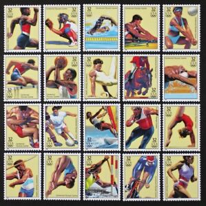 US 1996 #3068a-t Atlanta Olympics Complete set of 20 stamps in Singles Mint NH