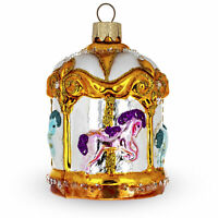 Golden Carousel with Horses Glass Christmas Ornament