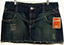 New with Tags!!  Mossimo Ladies Dark Blue Jean Distressed Mini Juniors Skirt - 9