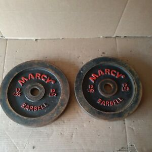 2-Vintage Marcy Barbell/Dumbbell Weight Plates 2-10lb