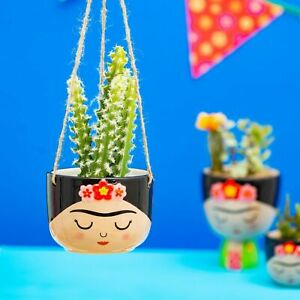 Sass & Belle Frida Kahlo Boho Fiesta Hanging Planter Plant Flower Pot Holder