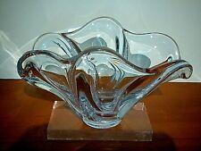VANNES CRISTAL Art Glass free form center piece bowl