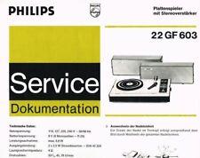 Philips Plattenspieler 22GF603  Schaltplan Manual 1973 Original  gf 603