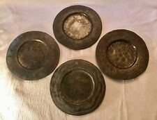 FOUR Handmade Haitian Folk Art Hammered Steel Metal Decorative Plates 12 in. Dia