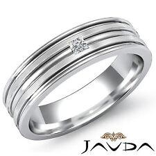 Princess Solitaire Diamond Men Half Wedding Band Heavy Ring 18k White Gold 0.1Ct