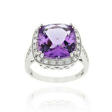 925 Silver 6.05ct. Amethyst & CZ Square Cocktail Ring Size 7