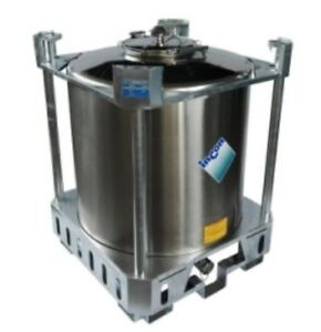 1000 LITRE STAINLESS STEEL IBC TANK FOR FOOD CHEMICAL DANGEROUS GOODS STORAGE