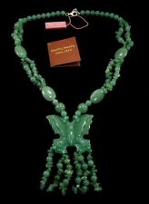 """Genuine Nephrite Jade Butterfly Necklace Sterling Silver Clasp 25"""" Brand New ss"""