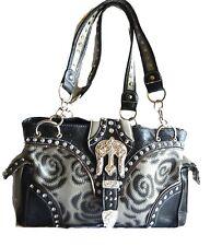 flower grey silver western rhinestone belt buckle  shoulder handbag purse studs