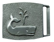 Vtg Sperm Whale Belt Buckle Sailboat Spout Save the Ocean Nautical Grey Water