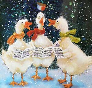 CUTE CHARITY CHRISTMAS CARD -  SINGING GEESE - ROBIN - SNOW - SINGLE CARD-13cm