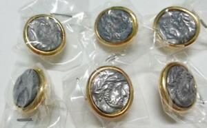 Mega Rare Vintage Greek Head Statue Gold / Silver Color Oval Buttons x 6 (B387)