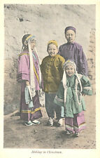 VIntage Postcard-Holiday in Chinatown,four children brightly dressed for holiday