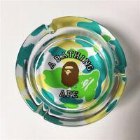 BAPE Camo Monkey Head Clear Crystal Glass Ashtray Smoking Ashtray 10*4CM